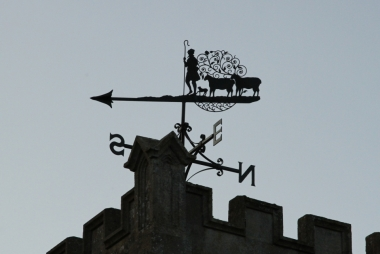 All Saints parish church, Chilton, Oxfordshire: weather vane on west tower. Motacilla on Wikimedia Commons