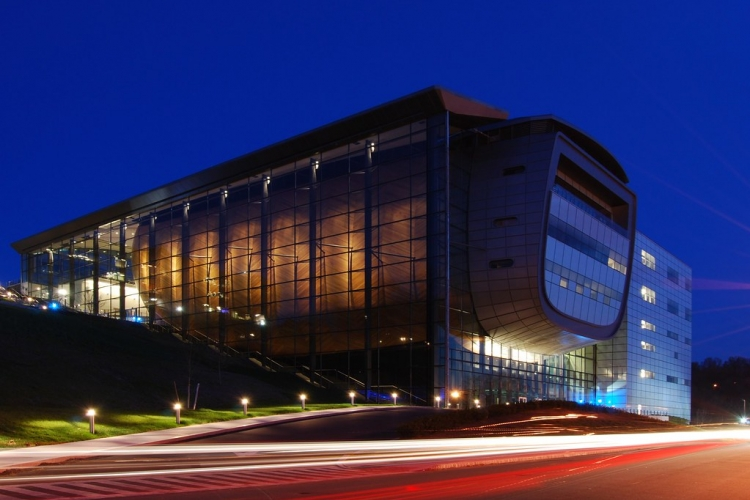EMPAC at twilight, RPI. Matt Wade via Flickr.com, CC BY-SA 2.0